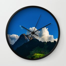 Green Mountain Valley Clouds & Blue Sky Wall Clock