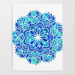Mandala Iridescent Blue Green Poster