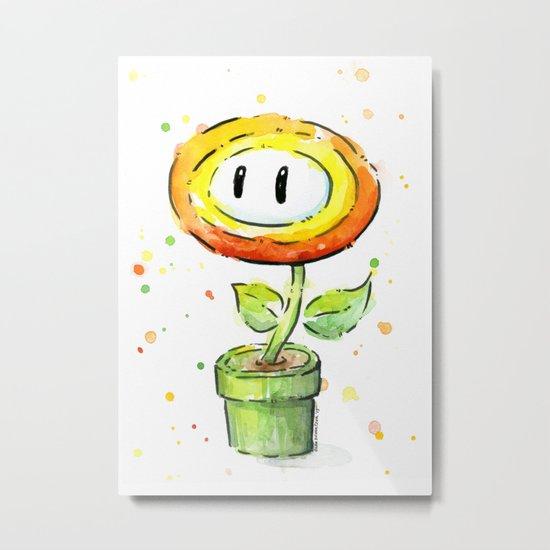 Fire Flower Watercolor Painting Mario Game Geek Art Metal Print