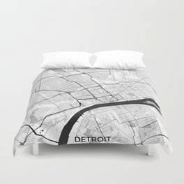 Detroit Map Gray Duvet Cover