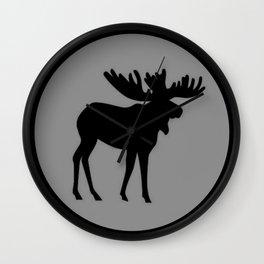 Bull Moose Silhouette - Black on Gray Wall Clock