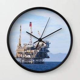 Oil Rig Near Ventura Wall Clock