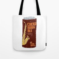 ale giorgini Tote Bags featuring Chicago Brown Ale by Moto