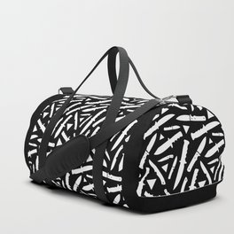 Survival Knives Pattern - White on Black Duffle Bag