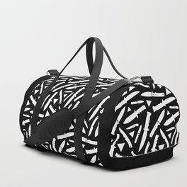 Survival Knives Pattern - White on Black Duffle Bag