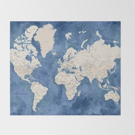 Light brown and blue watercolor detailed world map Throw Blanket