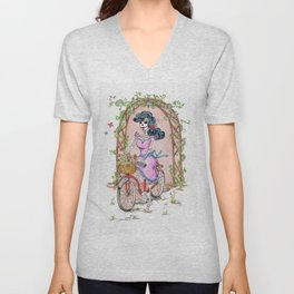 day of the dead catrina on red bike in the garden dia de los muertos every day Unisex V-Neck