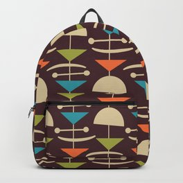 Retro Mid Century Modern Abstract Mobile 643 Brown Turquoise Olive Orange and Beige Backpack
