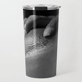 Closeup of a Woman's Vagina. Image in black and white Travel Mug