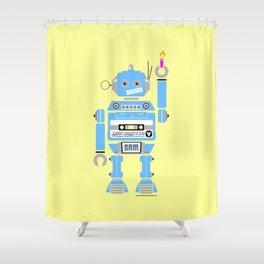 80s Mix Tape Robot - Sam Shower Curtain