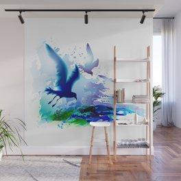 Birds flying. Sea, ocean watercolor gulls with waves. Dark blue water. Wall Mural