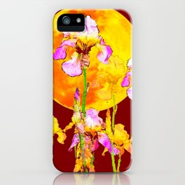 BURGUNDY SKY IRIS GARDEN RISING GOLDEN MOON iPhone Case