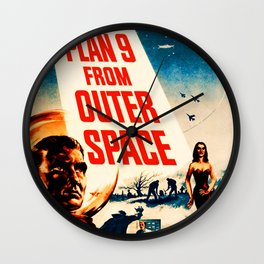 Plan 9 from Outer Space, vintage movie poster Wall Clock