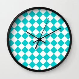 Diamonds - White and Cyan Wall Clock