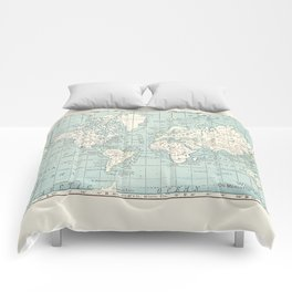 World Map in Blue and Cream Comforters