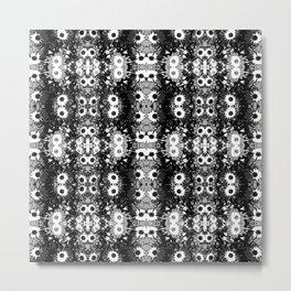 Black White Fower Girly Pattern Metal Print