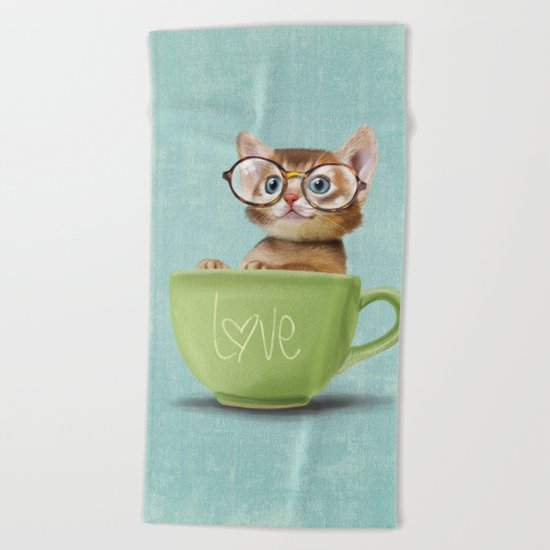 Kitten with glasses Beach Towel
