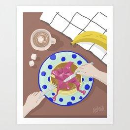 Breakfast flatlay illustration Art Print