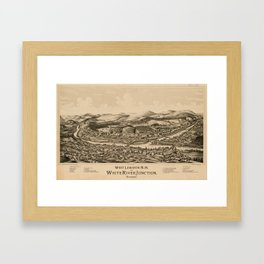 Old Lebanon NH & White River Junction VT Map (1889) Framed Art Print