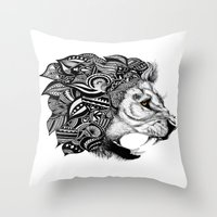 leon Throw Pillows featuring Leon by Artful Schemes