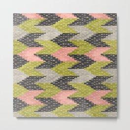 Kilim Weaving Structure Green & Blush Metal Print