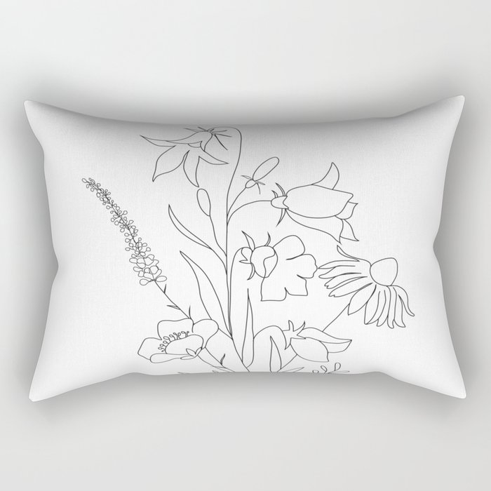 Small Wildflowers Minimalist Line Art Rectangular Pillow