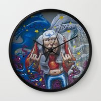rock and roll Wall Clocks featuring Rock&Roll by Roberto Pagani