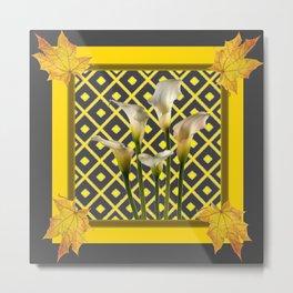 Charcoal Grey-Gold White Calla Lilies Metal Print