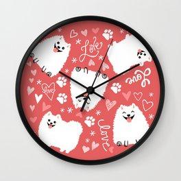 White Pomeranians Pattern Wall Clock