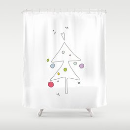 Cute Graphic Christmas Tree Shower Curtain