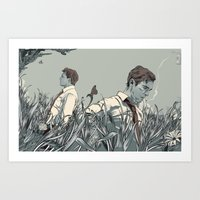 true detective Art Prints featuring True Detective by Rhafael Aseo