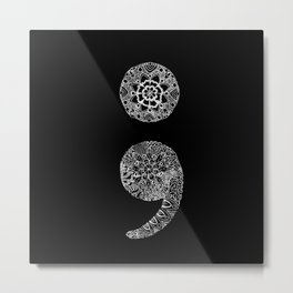 Patterned Semicolon: White on Black Metal Print
