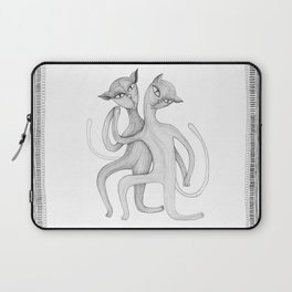 pencil drawing of a dancing cat couple Laptop Sleeve
