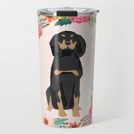 coonhound dog floral wreath dog gifts pet portraits Travel Mug