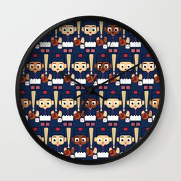 Baseball Navy, Red and White - Super cute sports stars Wall Clock