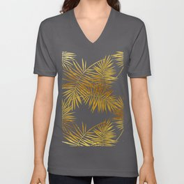 Tropical Palm Fronds in Gold Unisex V-Neck