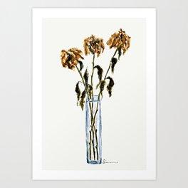 Three dried peonies Art Print
