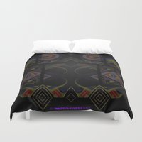 tron Duvet Covers featuring Mandalic Altar by Aaron Carberry
