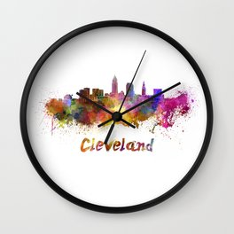 Cleveland skyline in watercolor Wall Clock