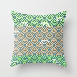 Catch the Seigaiha 2 (Green) Throw Pillow