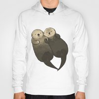 otters Hoodies featuring Significant Otters - Otters Holding Hands by StudioMarimo