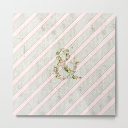 Romantic Floral Ampersand Pink Stripes Wood Metal Print