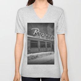 Rosie's Diner Photograph in Infrared Black & White by Rockford, Michigan Unisex V-Neck