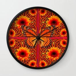 Monarch Butterflies Butterflies  Orange Sunflowers Celtic Art  Pattern Wall Clock