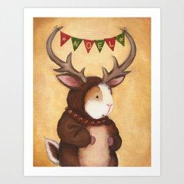 Ferdie the Christmas Reindeer Guinea Pig Art Print