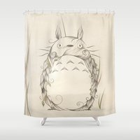 tatoo Shower Curtains featuring Poetic Creature by LouJah