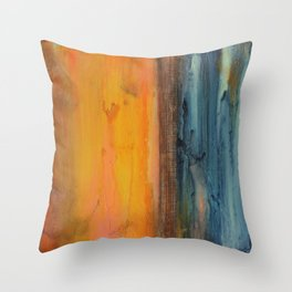 Blue and Orange - Textured Abstract Throw Pillow