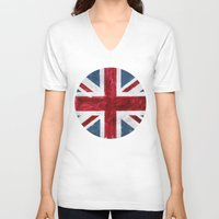 union jack V-neck T-shirts featuring Union Jack by Renato Verzaro