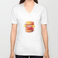 low poly V-neck T-shirts featuring Mc Whopper Low Poly by Happy Motion