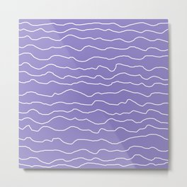 Lavender with White Squiggly Lines Metal Print